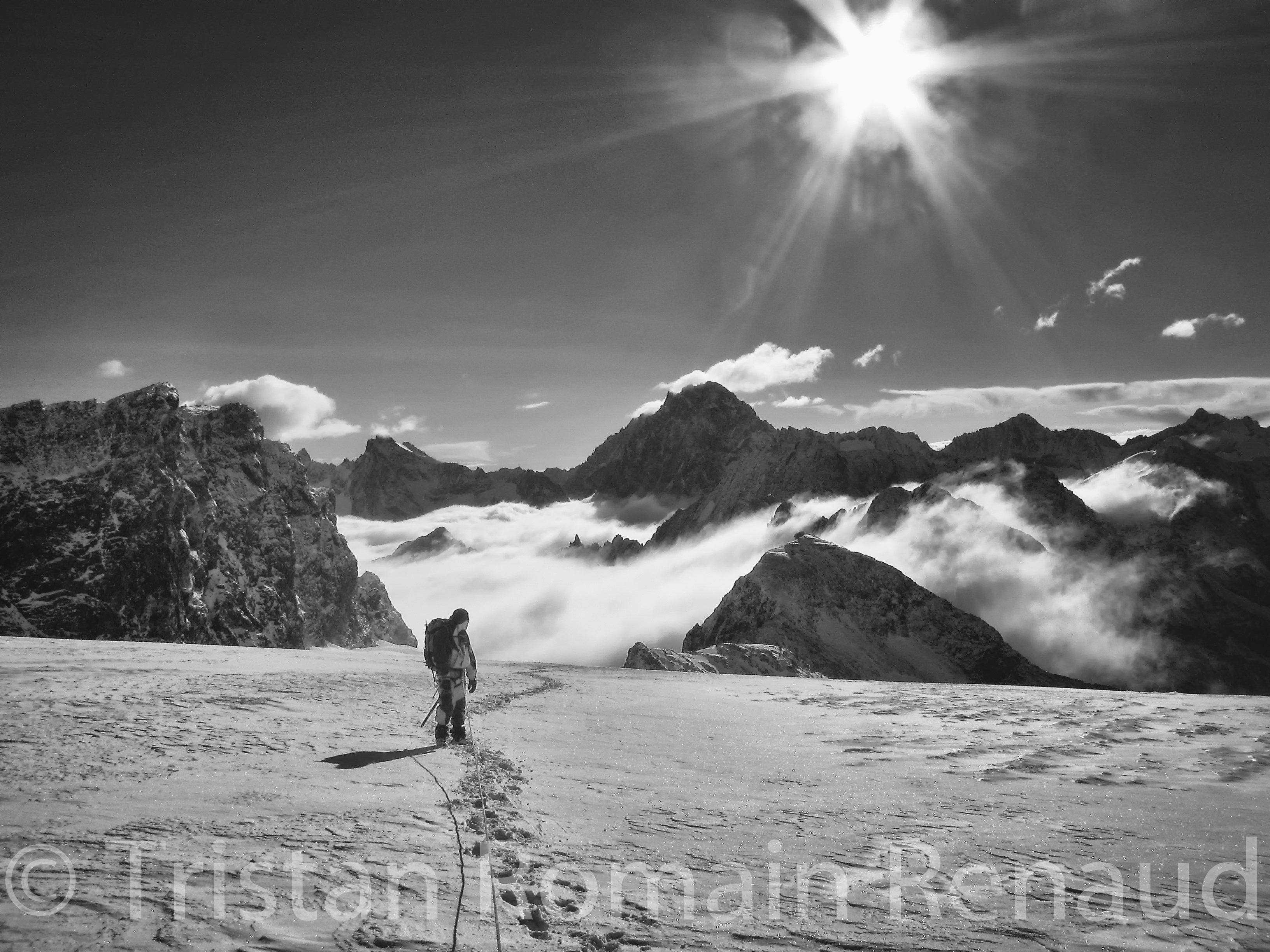 """En route to the summit of Les Rouies, in the wild and beautiful national park of """"Les Ecrins"""", South of France."""